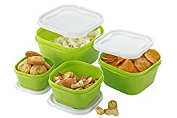 Patidar Polymers Multiuse Airtight FoodSaver Container Set Green (2400, 1400, 800, 400 ml)