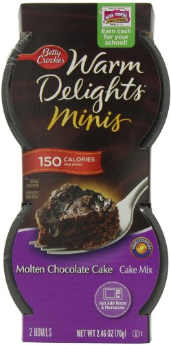 Betty Crocker Warm Delight Minis - Molten Chocolate Cake, 2.46-Ounce Packages (Pack of 9)