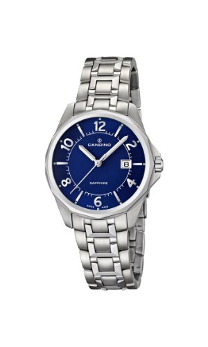 Candino Women's Quartz Watch with Blue Dial Analogue Display and Silver Stainless Steel Bracelet C4492/3