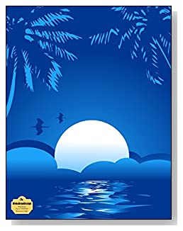 Blue Summer Night Notebook - Peaceful and tranquil is the look of the blue tropical moon setting that graces the cover of this wide ruled notebook.