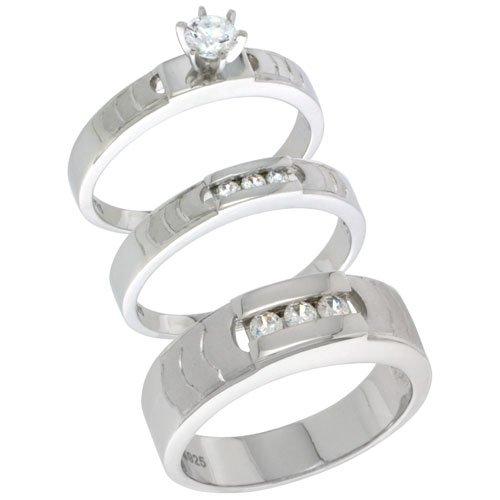 Sterling Silver Diamond Simulant Three Piece Matching Wedding Bridal Set