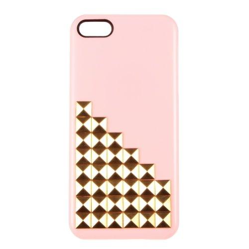 Pyramid Punk con borchie Custodia rigida per iPhone 5/5S (Golden inserti + rosa)