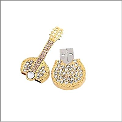8GB SMILEDRIVE BLING JEWELRY GOLD GUITAR USB PENDRIVE