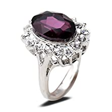 buy Yazilind Oval Round Cut Purple Cubic Zirconia Clear Crystal Alloy 8 Ring Women