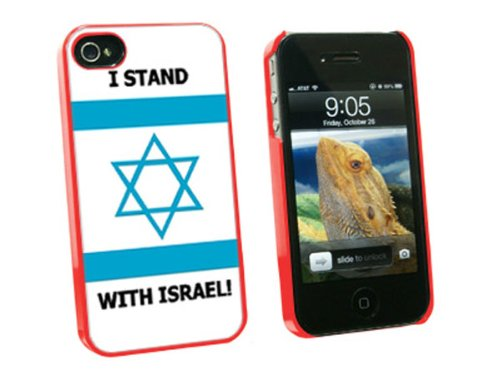 Graphics And More I Stand With Israel - Pro Israeli Jewish Support - Snap On Hard Protective Case For Apple Iphone 4 4S - Red - Carrying Case - Non-Retail Packaging - Red