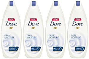 Dove Body Wash with NutriumMoisture, Deep Moisture, 24 Ounce Bottles (Pack of 4)