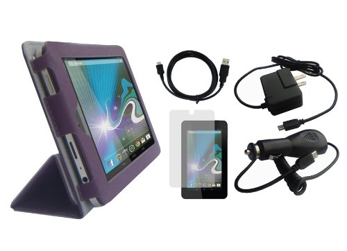iShoppingdeals - Purple Folio Cover Case Charger Cable Screen Protector Lot Bundle for HP Slate 7 INCH Tablet 2800 from Electronic-Readers.com