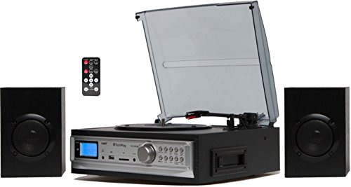 TechPlay ODC194 BK, 3-Speed Turntable & Cassett player W/SD USB, MP3 Encoding System and AM/FM Stereo Radio, with stereo speaker set