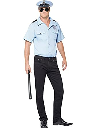 Smiffy's Men's Police Officer Costume Shirt with Badge and Hat