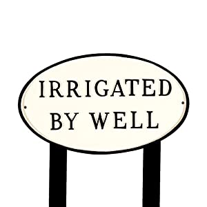 Montague Metal Products SP-22L-WB-LS Large White and Black Irrigated by Well Oval Statement Plaque with 2 23-Inch Lawn Stakes