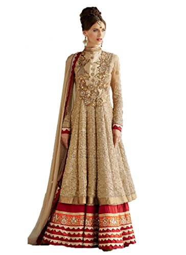 Rozdeal Women's Net Embroidery Floor Touch Anarkali Suit Free Size Cream