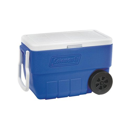 Cooler, Wheeled, 50 Quart. This Beach Or Party Cooler Transports Your Refreshments With Ease. This Cooler Can Hold 67 Cans Plus Ice Or 2 Liter Bottles Standing Upright. Invite This Drink Cooler To Your Next Get Together. Coolers Bring The Fun.