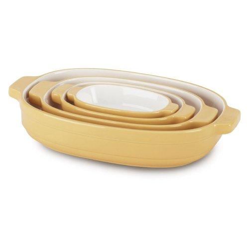 Kitchenaid Kblr04Nsbf 4-Piece Nesting Ceramic Casserole, 0.3-Quart/0.7-Quart/1.5-Quart/3.5-Quart