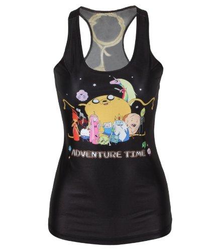 Amour-Trendy Celeb Inspired stampa digitale, Adventure Time, gilet e Leggings, e Skate, da donna, maniche lunghe, donna, regolari, Canotta), colore: nero