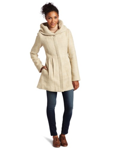 CoffeeShop Women's Textured Wool Coat with Hood, Ivory/Taupe, S