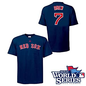 Stephen Drew Boston Red Sox Navy Player T-Shirt w  World Series Logo by Majestic by Majestic