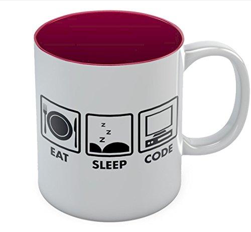 Eat Sleep Code Coffee Mug - Geek Gift Idea - Funny Programmer Coder Tea Cup Mug 11 Oz. Red