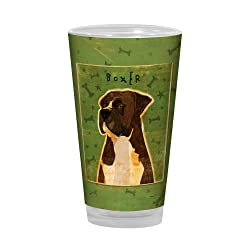 Tree-Free Greetings PG03034 John W. Golden Artful Alehouse Pint Glass, 16-Ounce, Brindle Boxer
