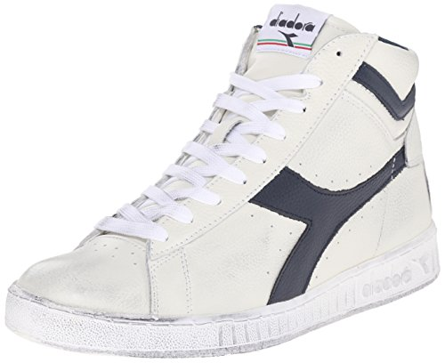 Diadora Game L High Waxed, Scarpe Low-Top Unisex Adulto, Bianco (Bianco/Blu Mar Caspio), 44 EU