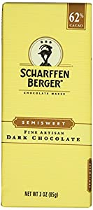 Scharffen Berger 62% Semisweet Chocolate Bars, Dark Chocolate, 3-Ounce Bars (Pack of 6)
