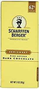 Scharffen Berger 62% Semisweet Chocolate Bars, Dark Chocolate, 3-Ounce Bars (Pack of 6)