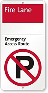 """Fire Lane - Emergency Access Route (with No Parking Symbol) Sign, 24"""" x 12"""""""