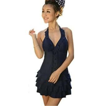 luckshop2012 Sexy Deep V Swimsuit Swimdress Ruffle Swimwear Halter Plus Size Dress (XXXXXL)