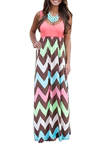 Shangke Womens Ladies Striped Zig Zag Scoop Neck Chevron Print Tank Maxi Long Party Dress (M, red)