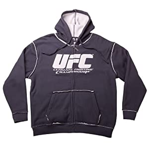 UFC Men's Sherpa Fleece Zip Hoodie (Charcoal/Silver, Small)