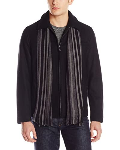 Calvin Klein Men's Zipper Wool Jacket with Scarf
