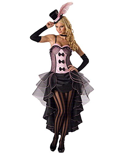 GALHAM - Sexy Pink Black Patchwork Fancy Saloon Girl Burlesque Dress Costume