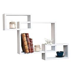 DecorNation Wall Shelf Set of 3 Rectangular Shelves Wall Dcor - White
