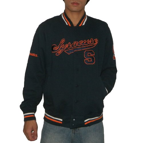 NCAA Syracuse Orange Mens Athletic Warm Snap-Button Down Colllegiate Jacket / Sweatshirt with Embroidered Logo (Size: L)