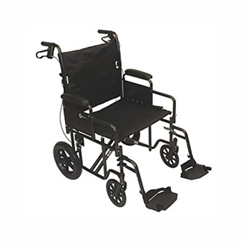 Roscoe Medical Transport Chair With 12-Inch Rear Wheels Steel Frame, Removable Desk-Length Arms, And Swing-Away Footrests front-908474