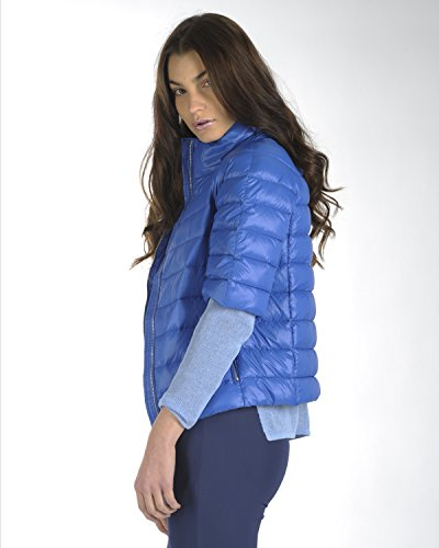 SilvianHeach Donna Giacca Casamicciola Giubbotto Imbottito Zip Manica Corta Blu XS