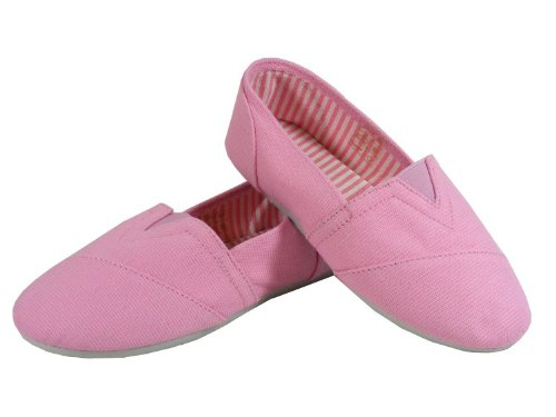 New Girls Kids Pink Canvas Shoes Flats Plimsolls Summer Holiday Pumps Sz Size 1