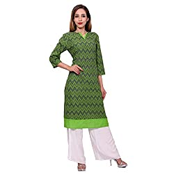 MSONS Women's Green Zigzag Printed Long Kurti in Cotton Fabric
