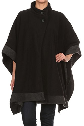 LL Womens Black Gray Contrast Hem Open Front Button Fleece Poncho (Wheelchair Clothing compare prices)