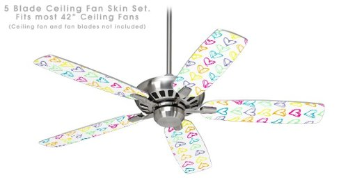 Ceiling Fan Skin Kit (fits most 42inch fans) - Kearas Hearts White - (Fan and fan blades NOT INCLUDED) by wallthat