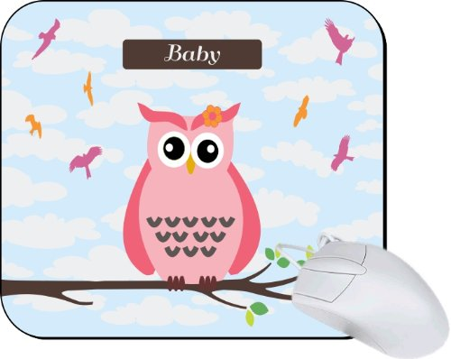 """Rikki Knighttm """"Baby"""" Name - Cute Pink Owl On Branch With Personalized Name Lightning Series Gaming Mouse Pad front-618859"""