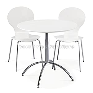 Kimberley dining set white table and 2 white chrome metal keeler style stackable dining chairs - Small white kitchen table and chairs ...