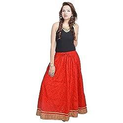 Prateek Retail Rajasthani Ethnic Red Cotton Short Skirt