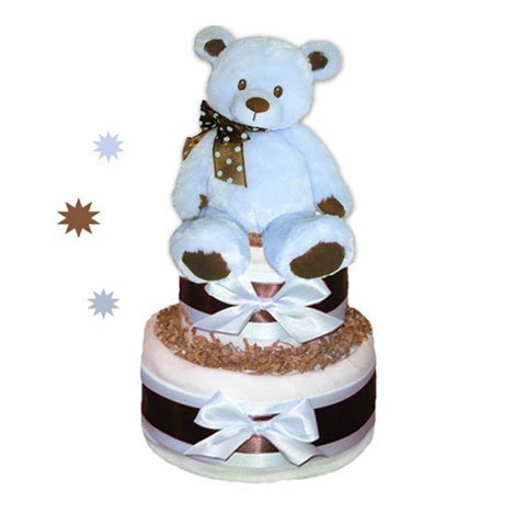 Tumbleweed Babies 1183012 Baby Bear Diaper Cake In Blue 2 Tier