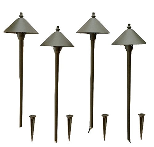 Set of 4 led scorpius bronze color path light by for Low voltage walkway lighting sets
