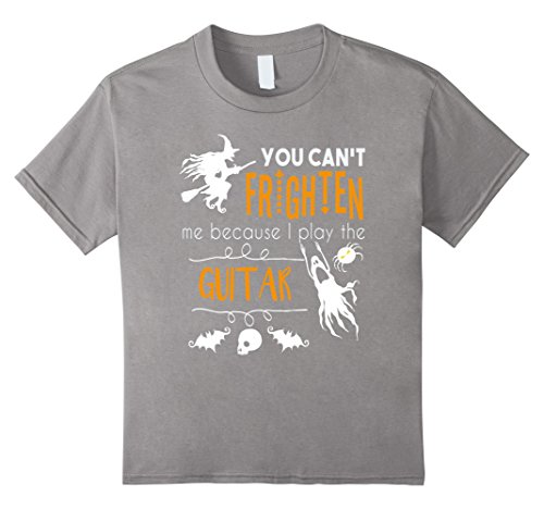 [Kids You can't frighten me I play guitar funny Halloween t-shirt 8 Slate] (Orchestra Conductor Costume)