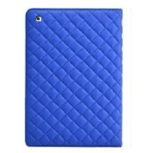 【全5色】 iPad Air 専用 キルティング デザイン ケース スタンド 付き 自動 スリープモード 対応 装着 したまま 操作可能 (2. ブルー 青 クロス 付き)