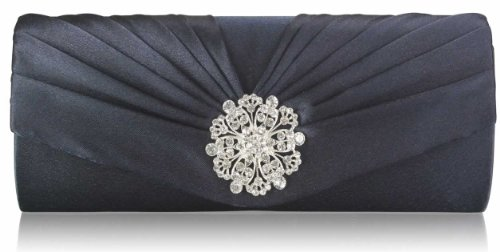 Womens Navy Blue Diamante Flower Designer Evening Satin Clutch Bag