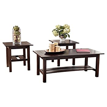 Ashley Furniture Signature Design - Lewis Occasional Table Set with Plank Style Shelves - Contains Cocktail Table & 2 End Tables - Contemporary - Medium Brown