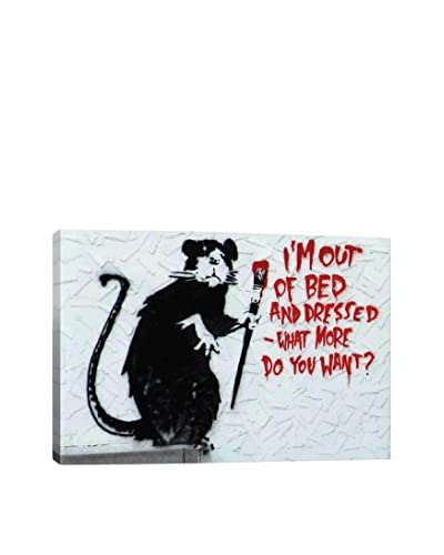 Banksy Out Of Bed Rat Gallery Wrapped Canvas Print