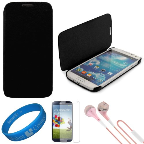 Vg Premium Faux Leather Flip Carrying Case W/ Sleeve Mode Function (Black) For Samsung Galaxy S4 / S Iv Android Smart Phones + Clear Anti Glare Screen Protector Strip W/ Cleaning Cloth + Pink Vg Stereo Headphones With Windscreen Mic & Silicone Ear Tips +